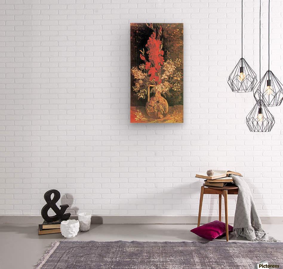 Vase with Gladiolas and Carnations by Van Gogh  Wood print