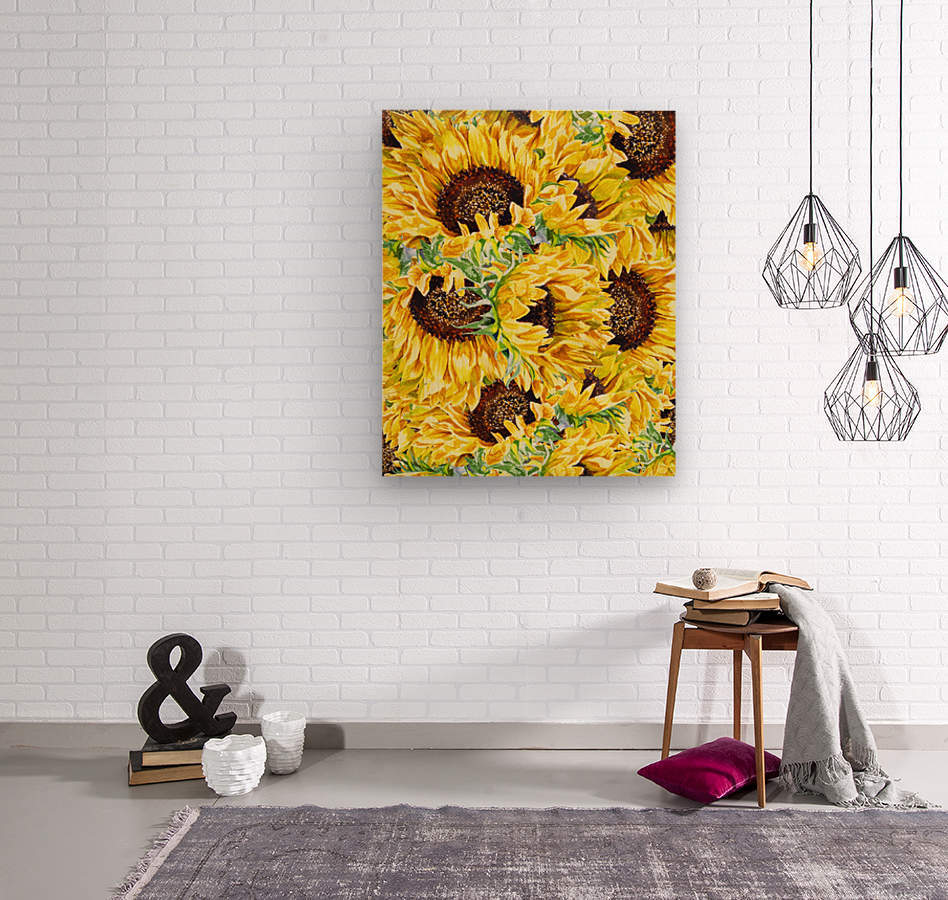 The Filed Of Watercolor Sunflowers Pattern  Wood print