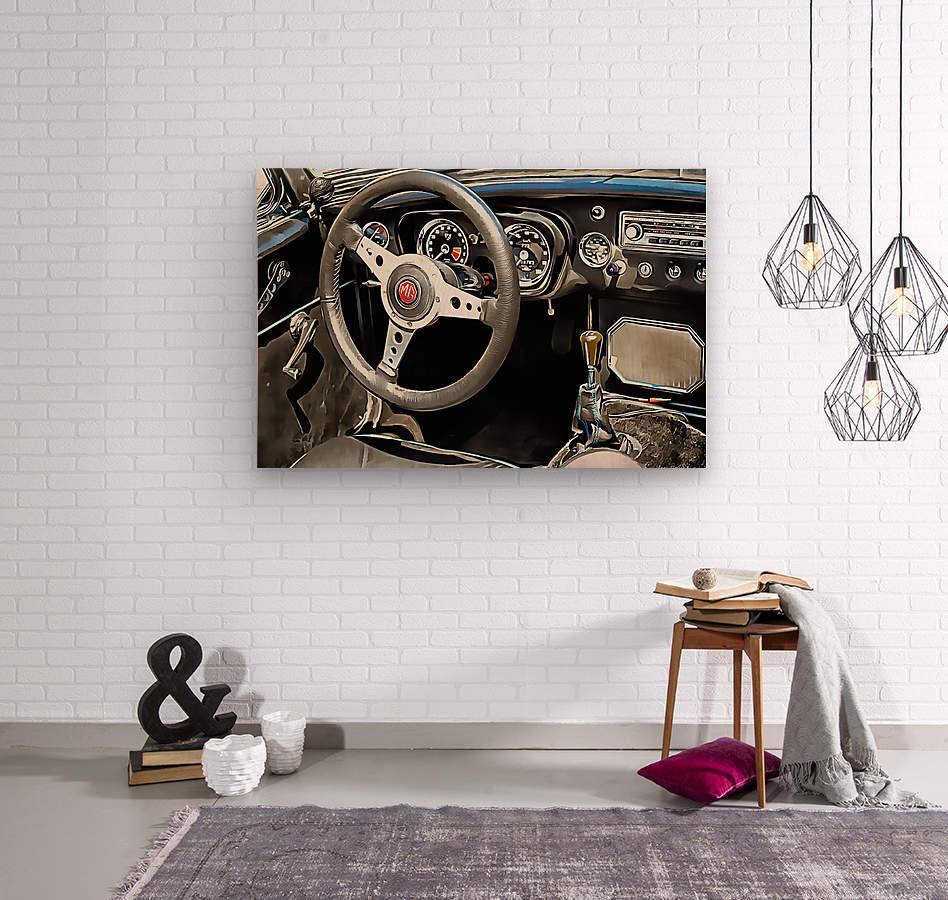 MG B Glance At Interior  Wood print