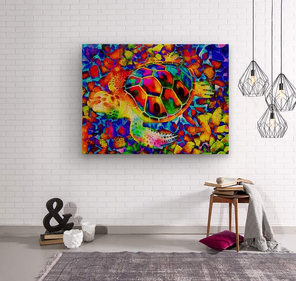 Rainbow Turtle  Wood print
