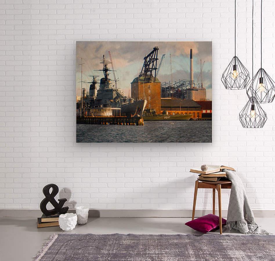 Ships at Holmen  Wood print