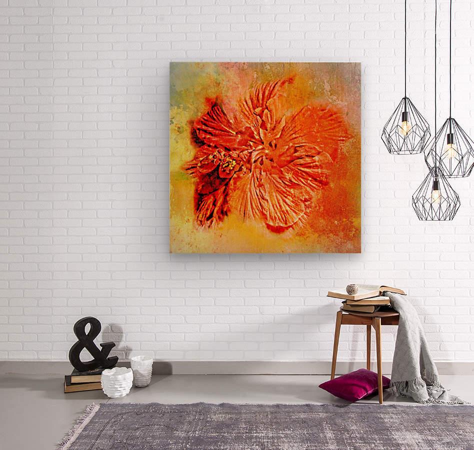 Tropical Hibiscus Floral  Wood print