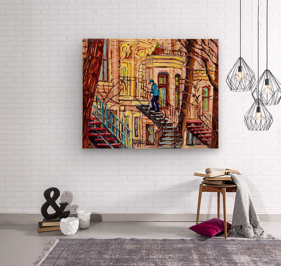 MAILMAN WALKING UP SPIRAL STAIRCASE PLATEAU MONT ROYAL MONTREAL STREET SCENE  Wood print