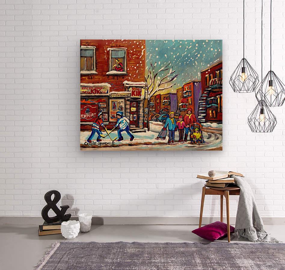 FAMILY AT DEPANNEUR SNOWY MONTREAL WINTER SCENE   Wood print