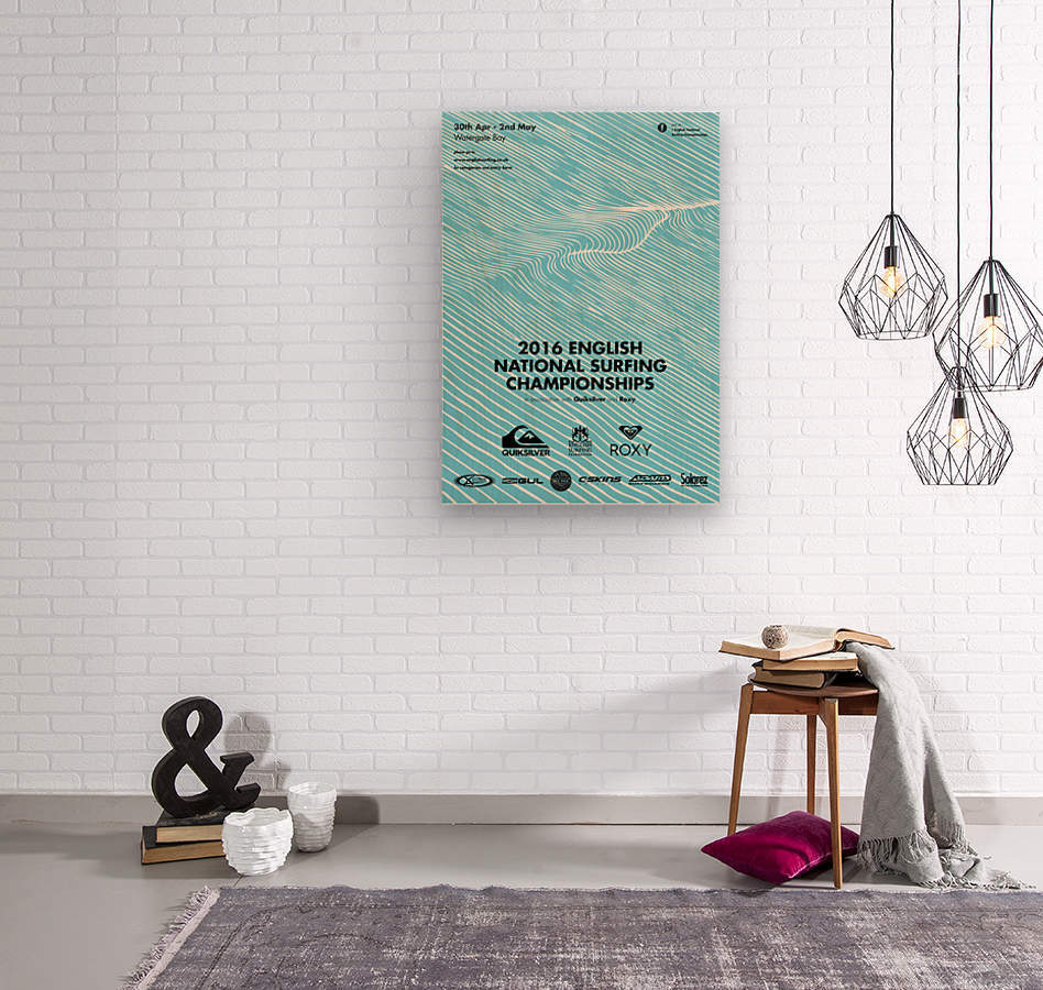 2016 ENGLISH NATIONAL SURFING Tournament Poster  Wood print
