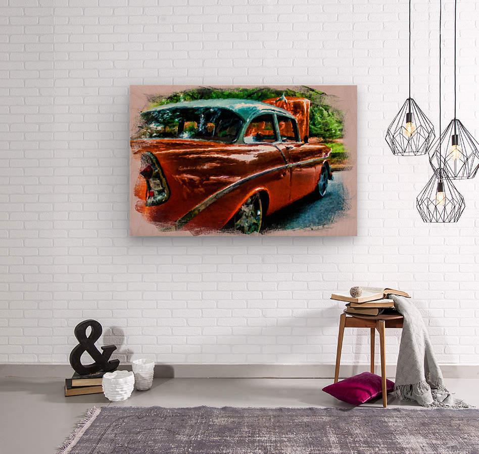 Classic Orange Car in Park Painting  Impression sur bois