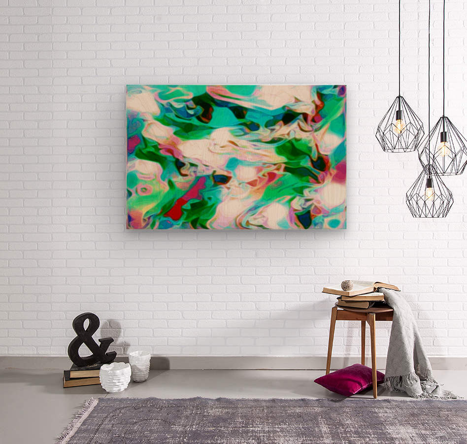 Waterfall - multicolor abstract swirls  Wood print