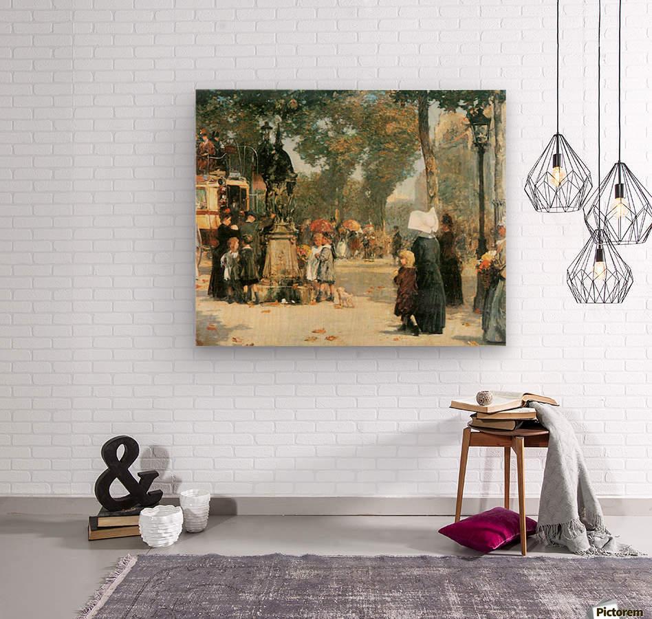 Parisian street scene -1- by Hassam  Wood print