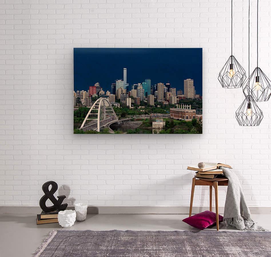Edmonton Skyline & Thunderstorm...  Wood print