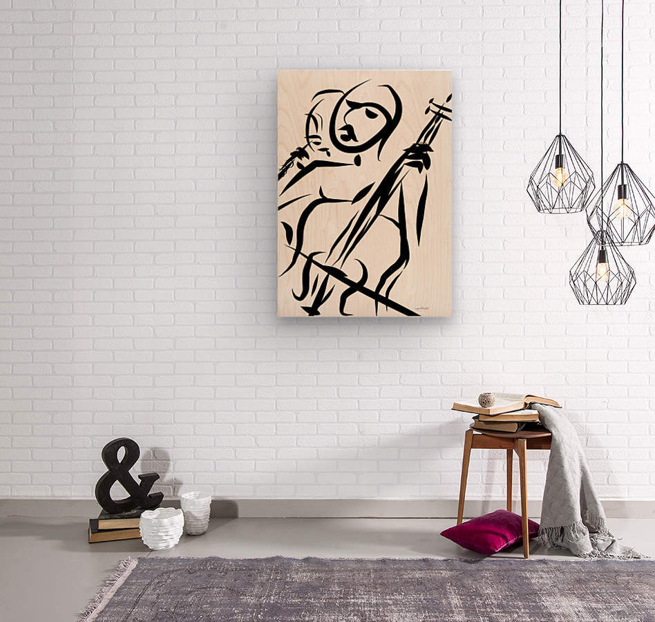 cello and flute  Wood print