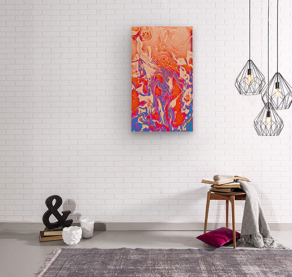 Harmonized Masculine and Feminine - red blue orange purple abstract gradient swirls  Wood print
