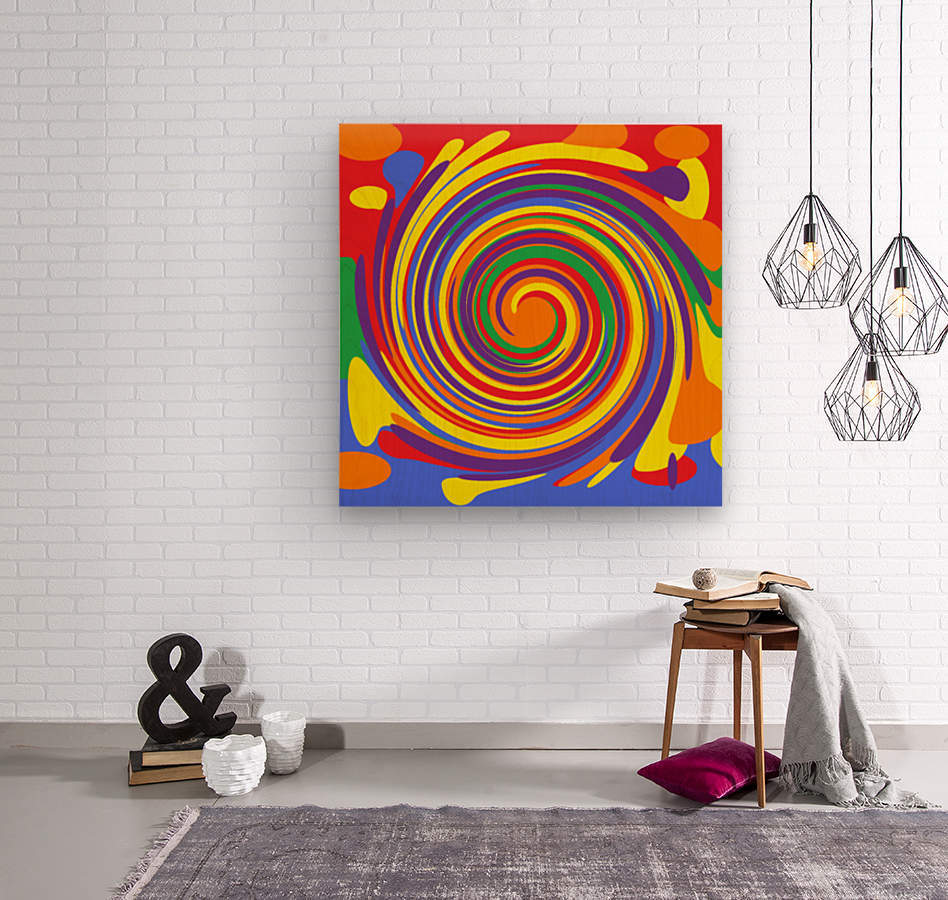 This is a beautiful design with great color, shape, line, texture, space and value.  (14)  Wood print
