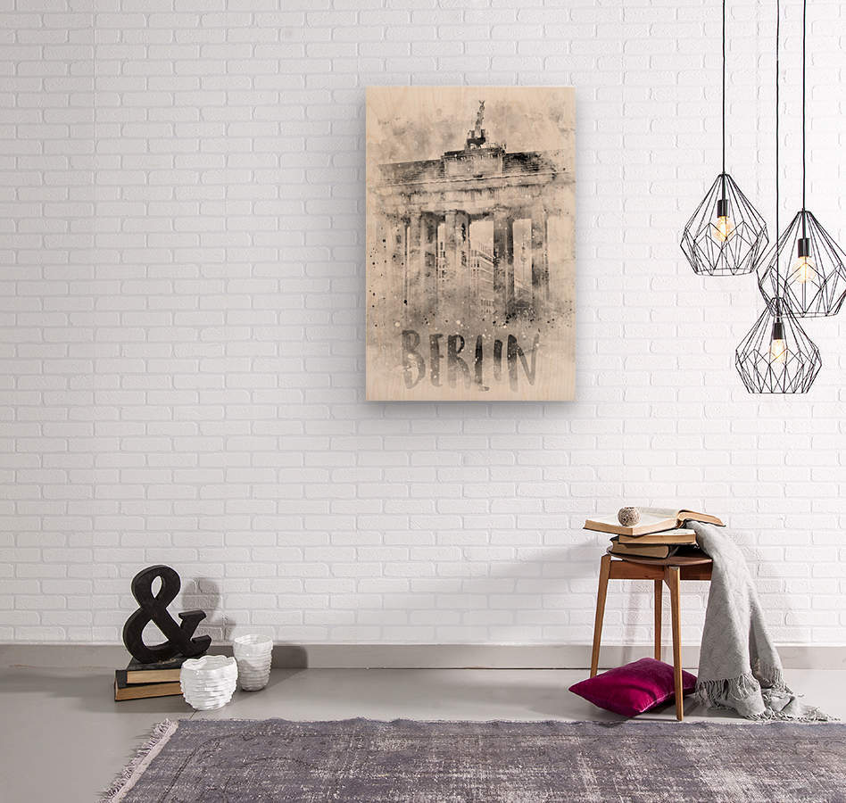 Monochrome Art BERLIN Brandenburg Gate | Watercolor  Wood print