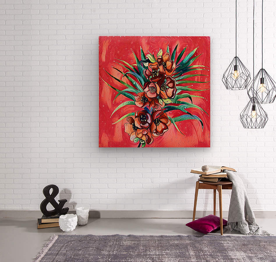 Vibrant Colors Tropical Floral  Wood print