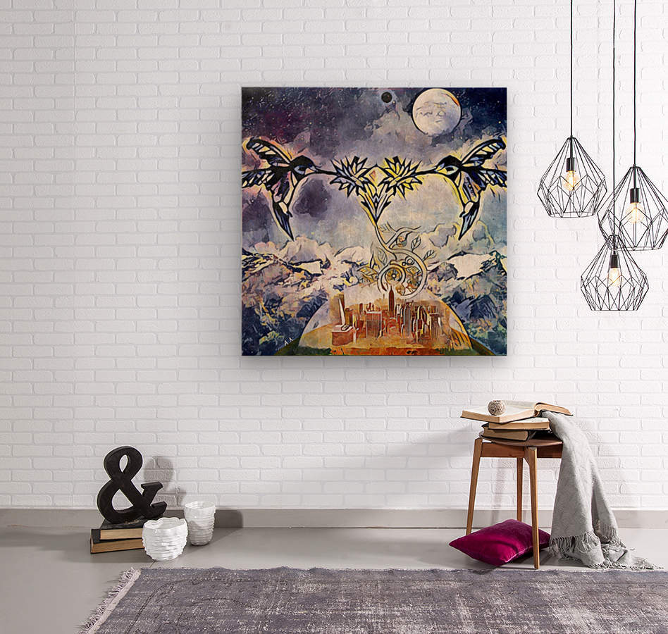 Two hummingbirds in the sky eating nectar nearby a domed city  Wood print