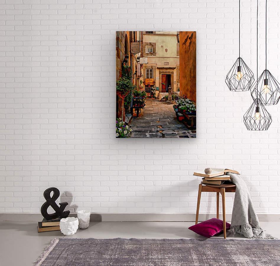Floral Courtyard Cortona Tuscany  Wood print