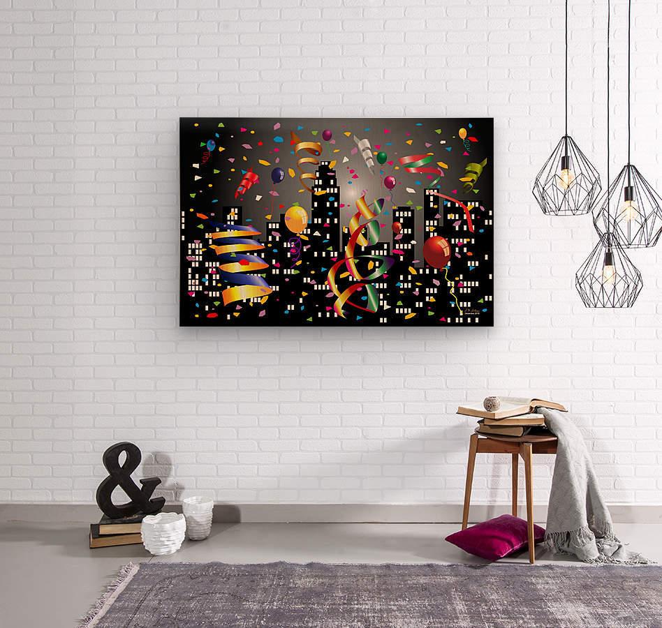 1-Nighttime Celebration in the Big City  Wood print