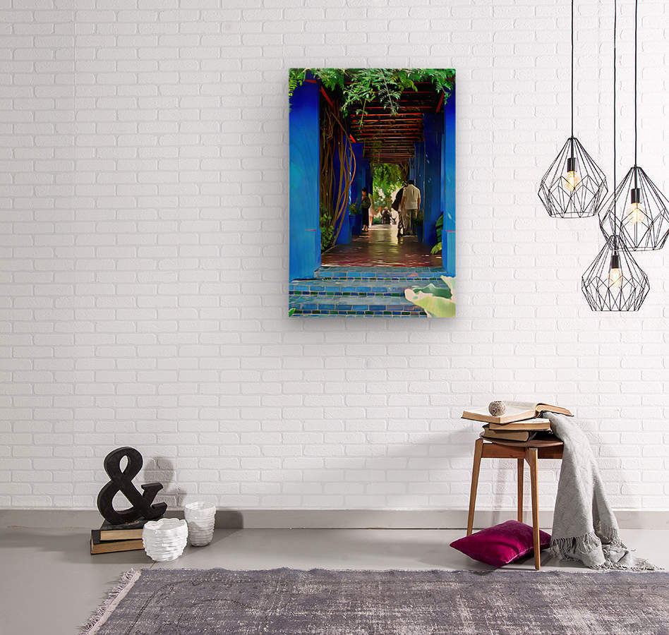 Shady Blue Walkway Marrakech  Wood print