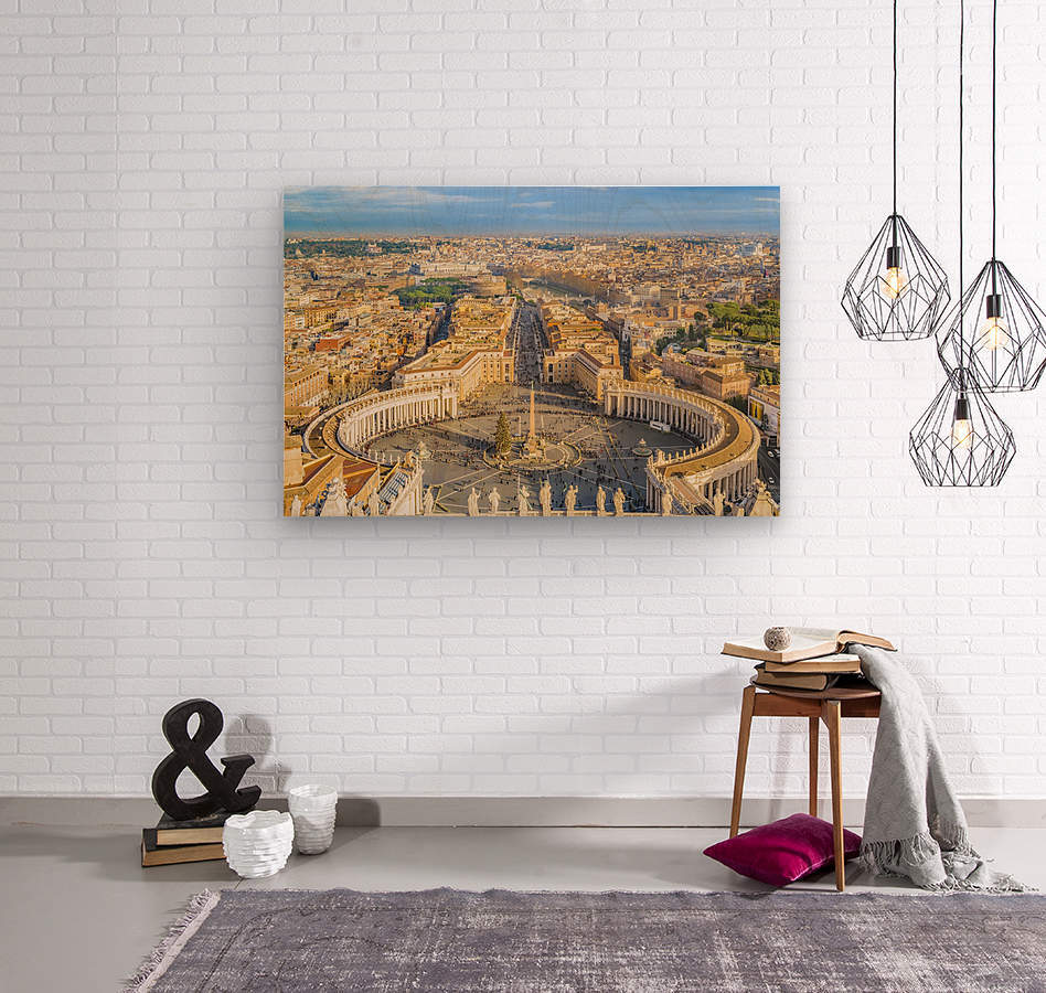 24996996 rome aerial view from saint peter basilica viewpoint  Wood print