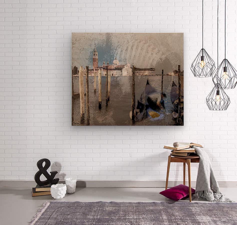Venise le gondolier  Wood print