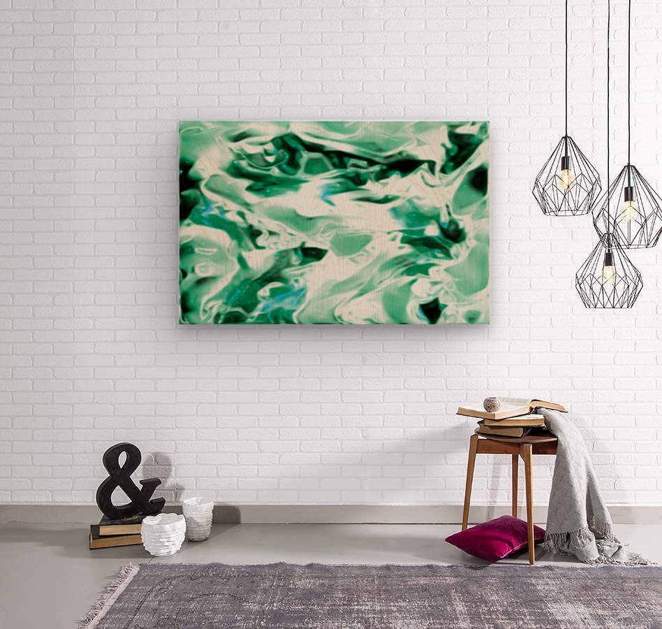 Icicles - turquoise white abstract swirls wall art  Wood print