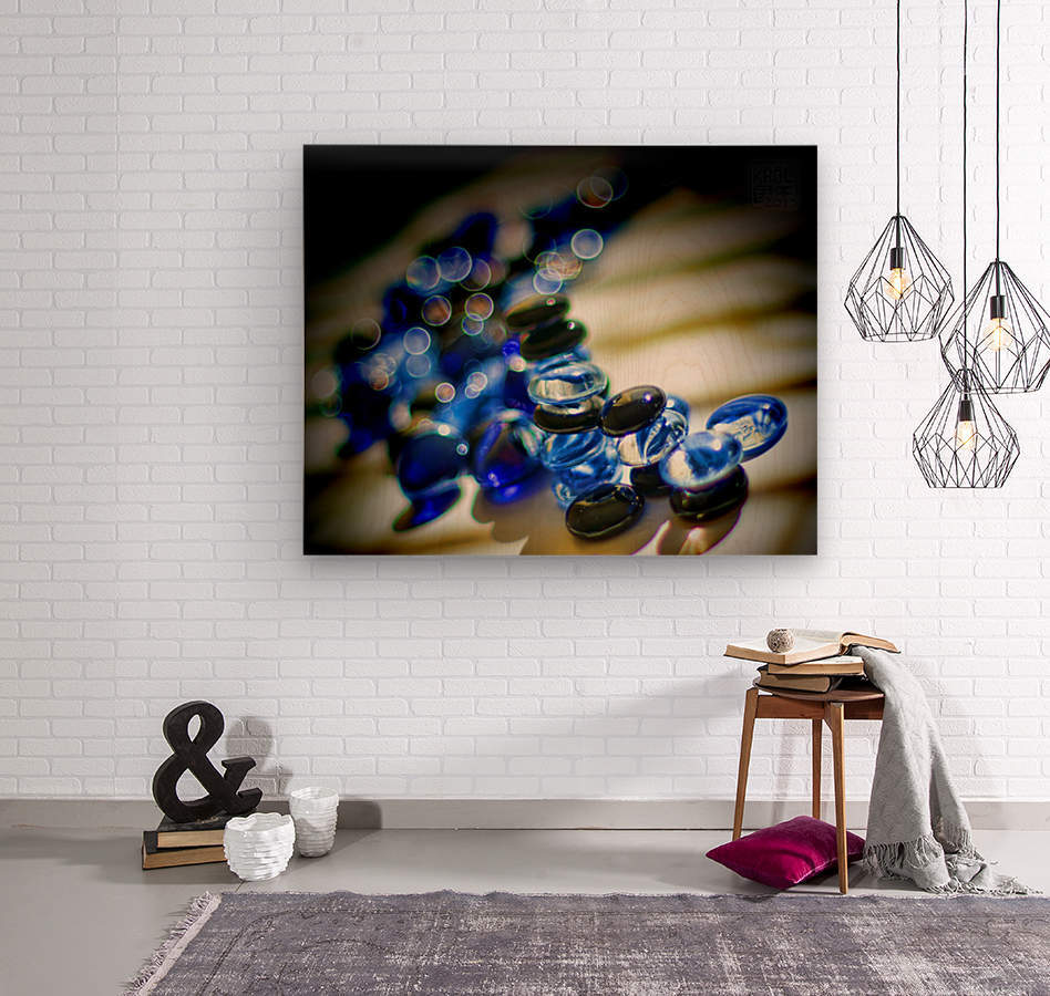 Blue Mosaic Glass Gems  Wood print