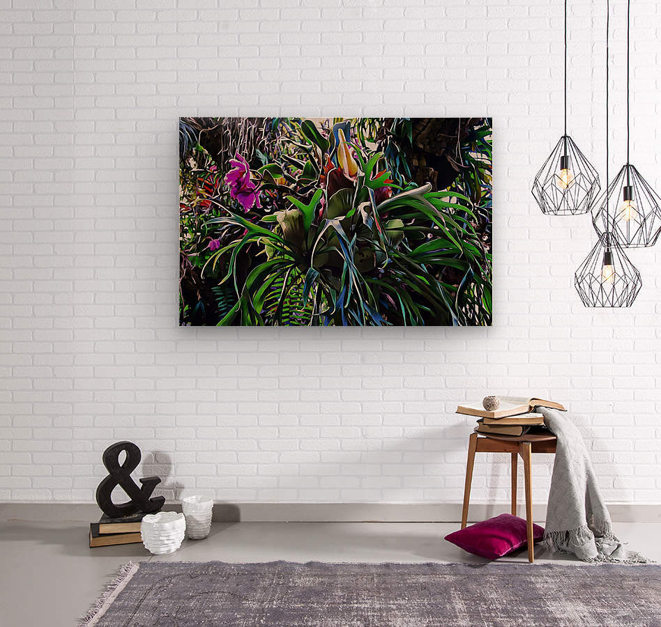 Stag Horn And Orchid Fantasy Garden  Wood print