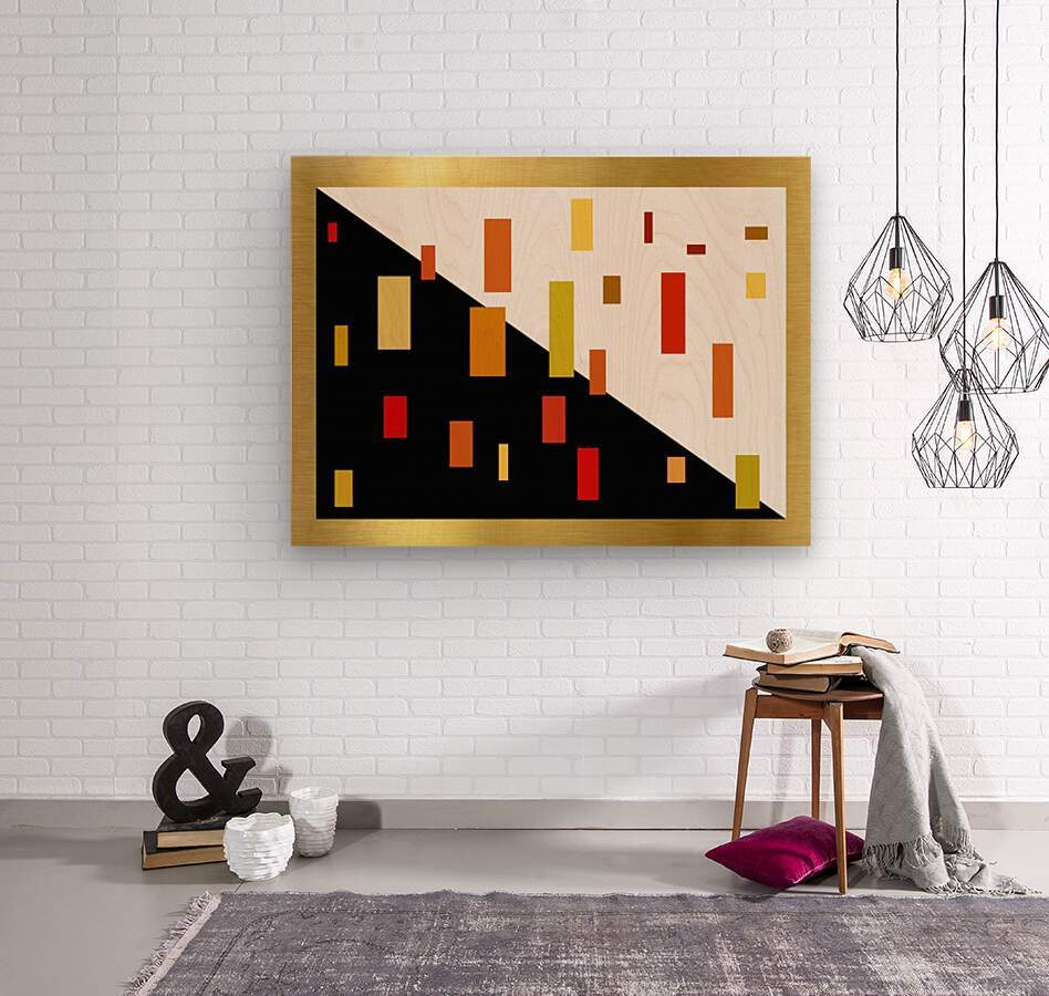 Colors of day and night. Celebration.   Wood print