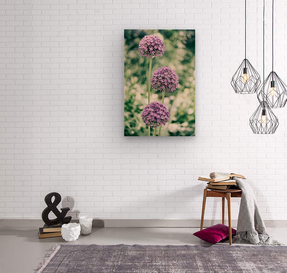 Three Purple Flowers  Wood print