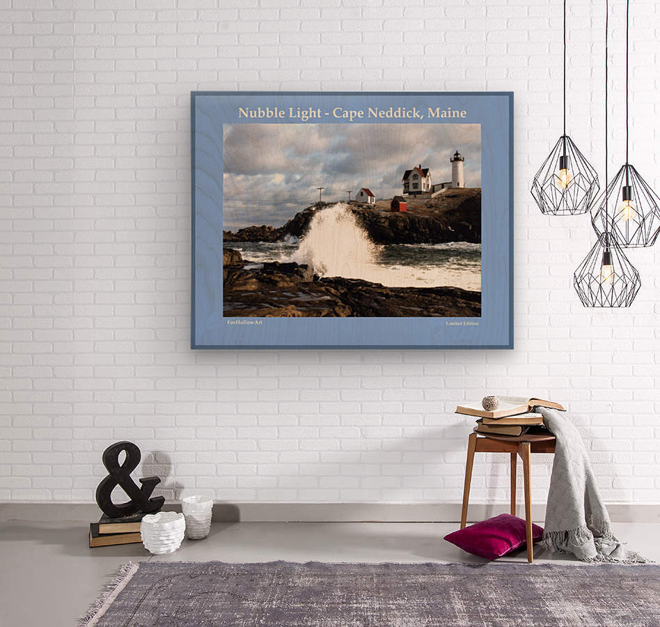 Nubble Light - Cape Neddick - York - Maine High Surf  Wood print