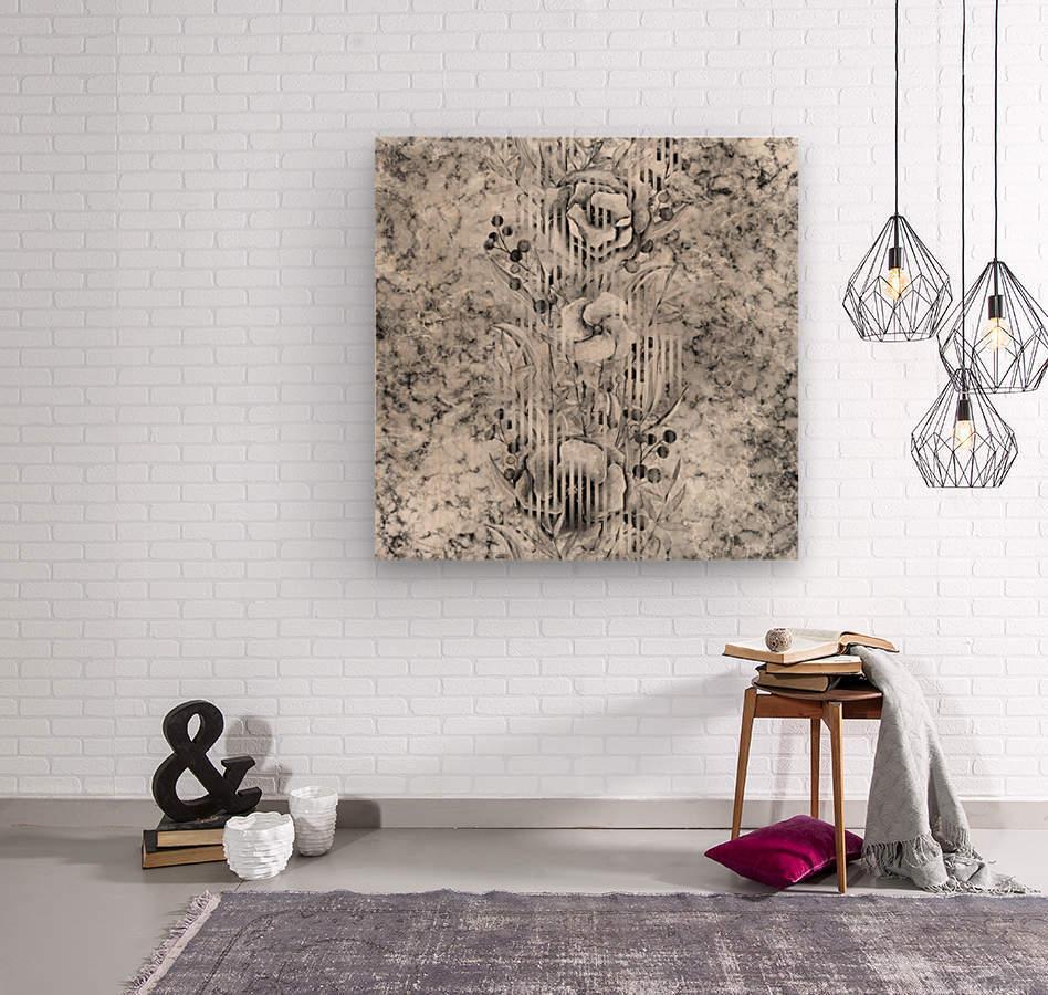 Shades of grey floral abstract   Wood print