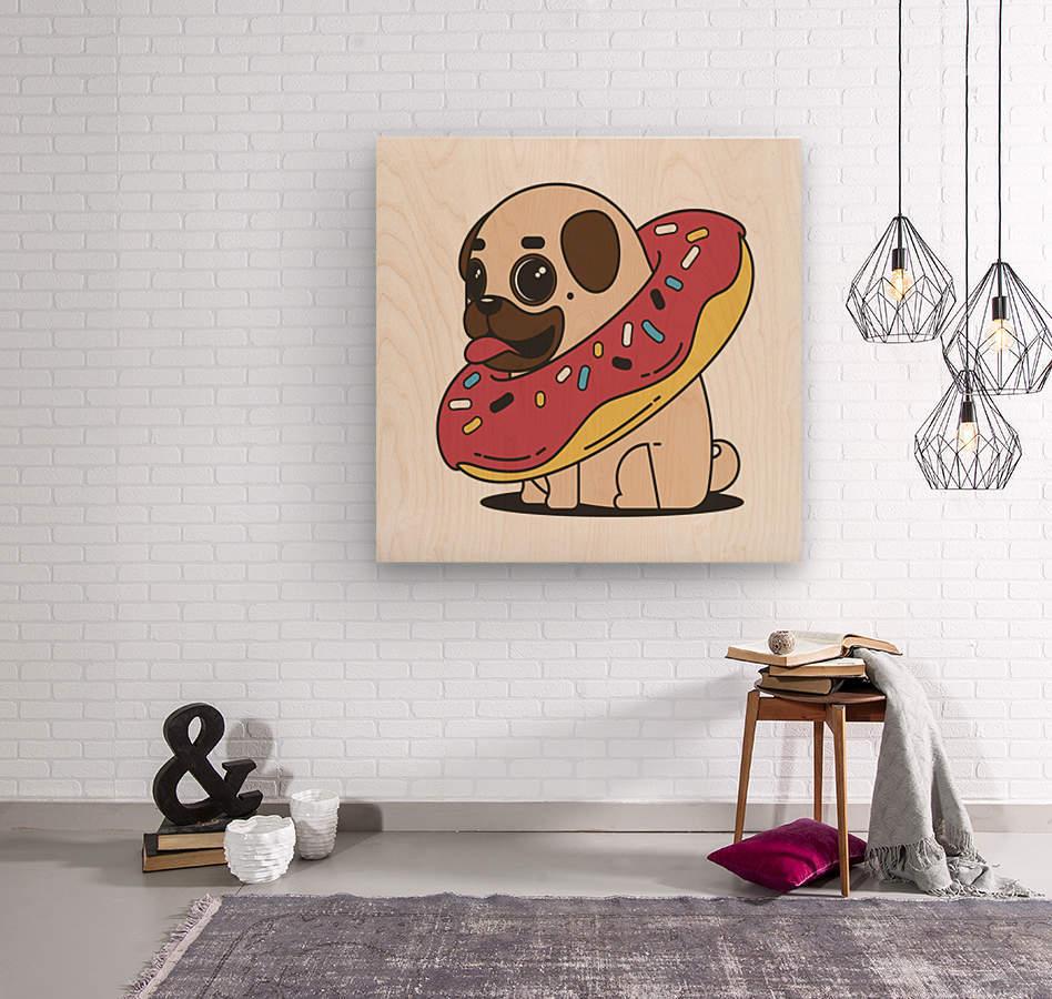 pug donut sweets tasty bun  Wood print