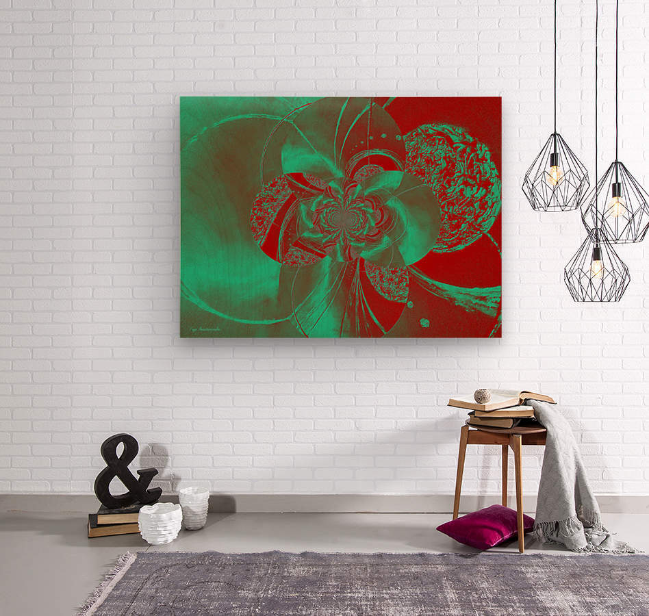 Emerald and Red Circular Patterns  Wood print