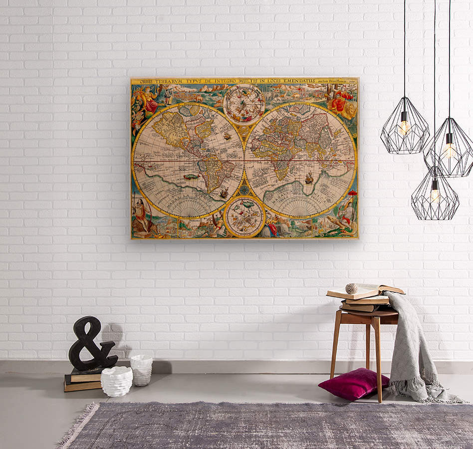 ORBIS TERRA RVM Old-Cartographic Map  Wood print