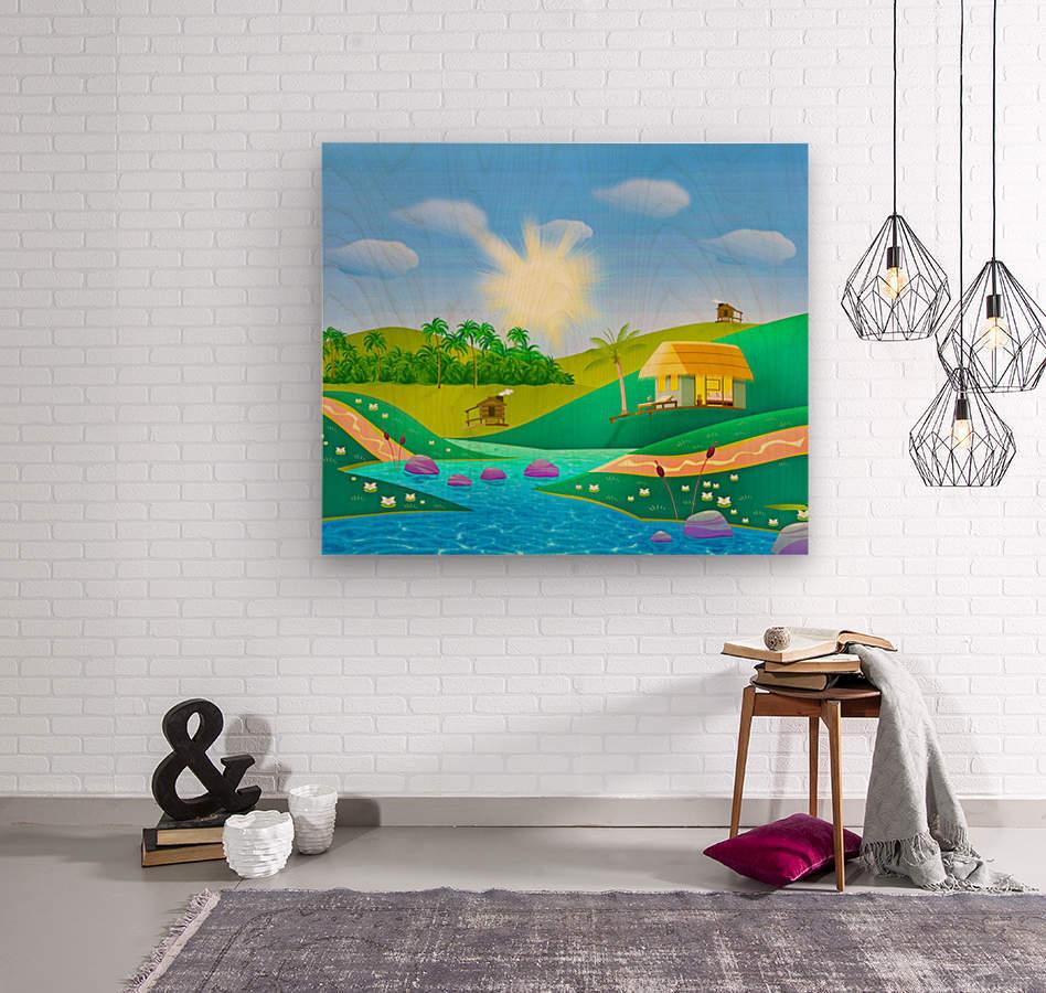 tropical resort huts lake river  Wood print