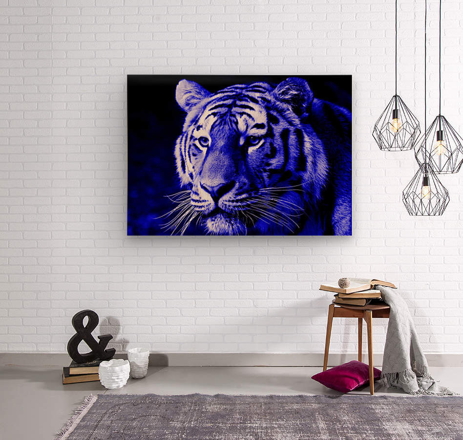 Tiger pop blue  Wood print