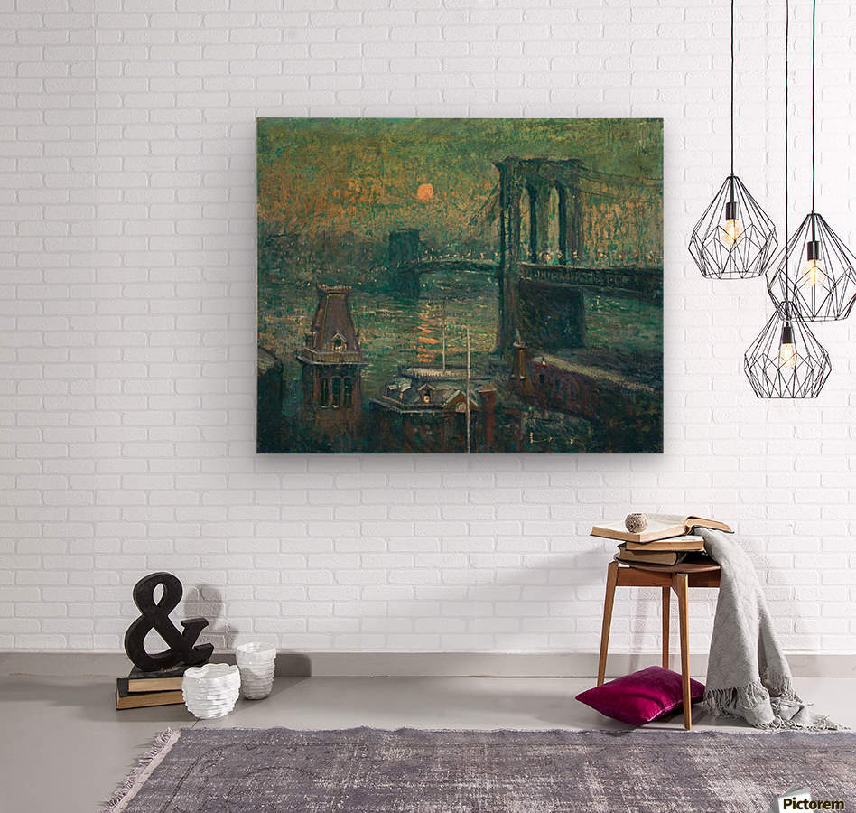 Moon the seine  Wood print