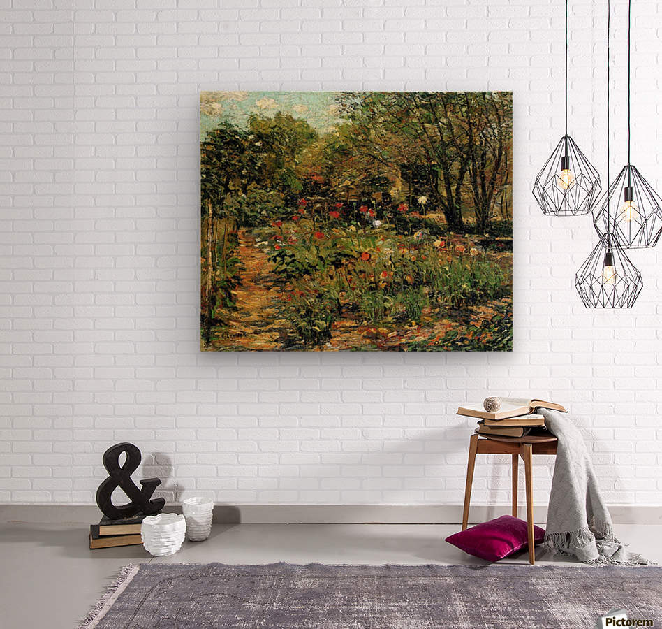 Garden with flowers  Wood print
