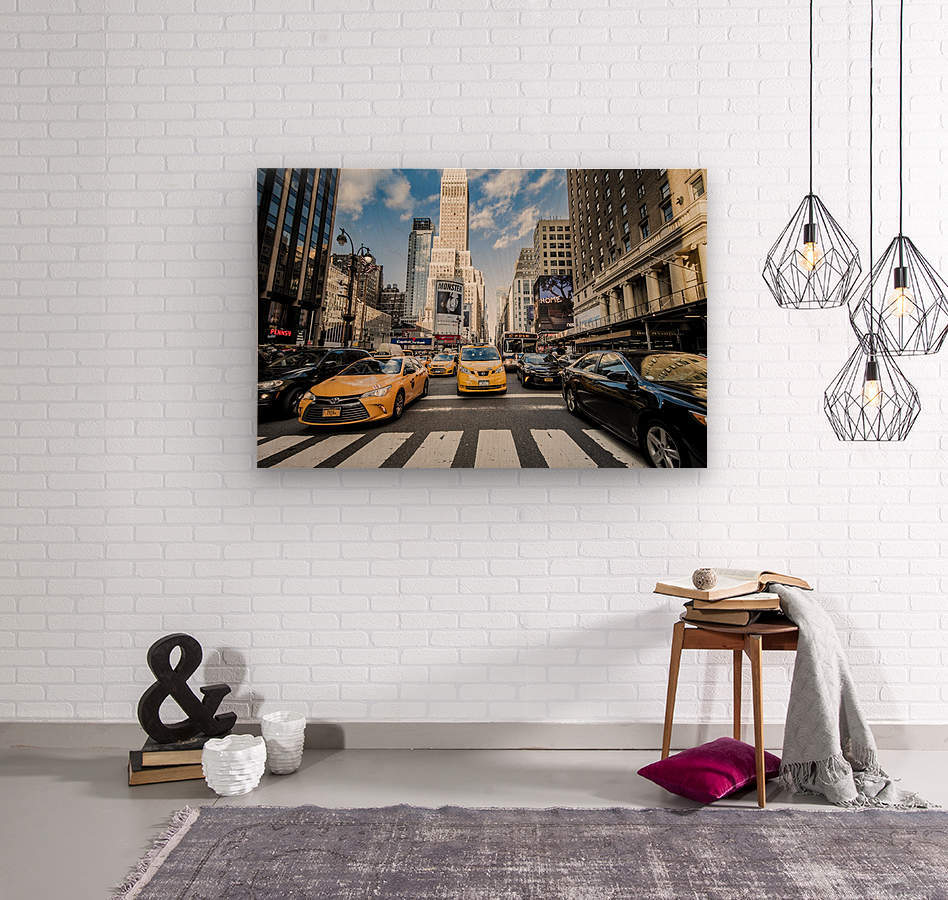 New York City Taxi Mayhem   Wood print