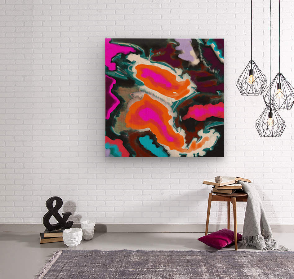 Abstract Paisley Paint Pour  Wood print