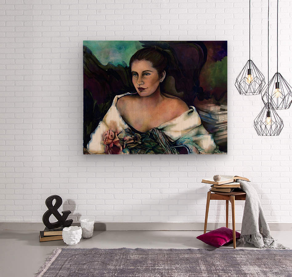 Spanish Lady With A Rose  Wood print