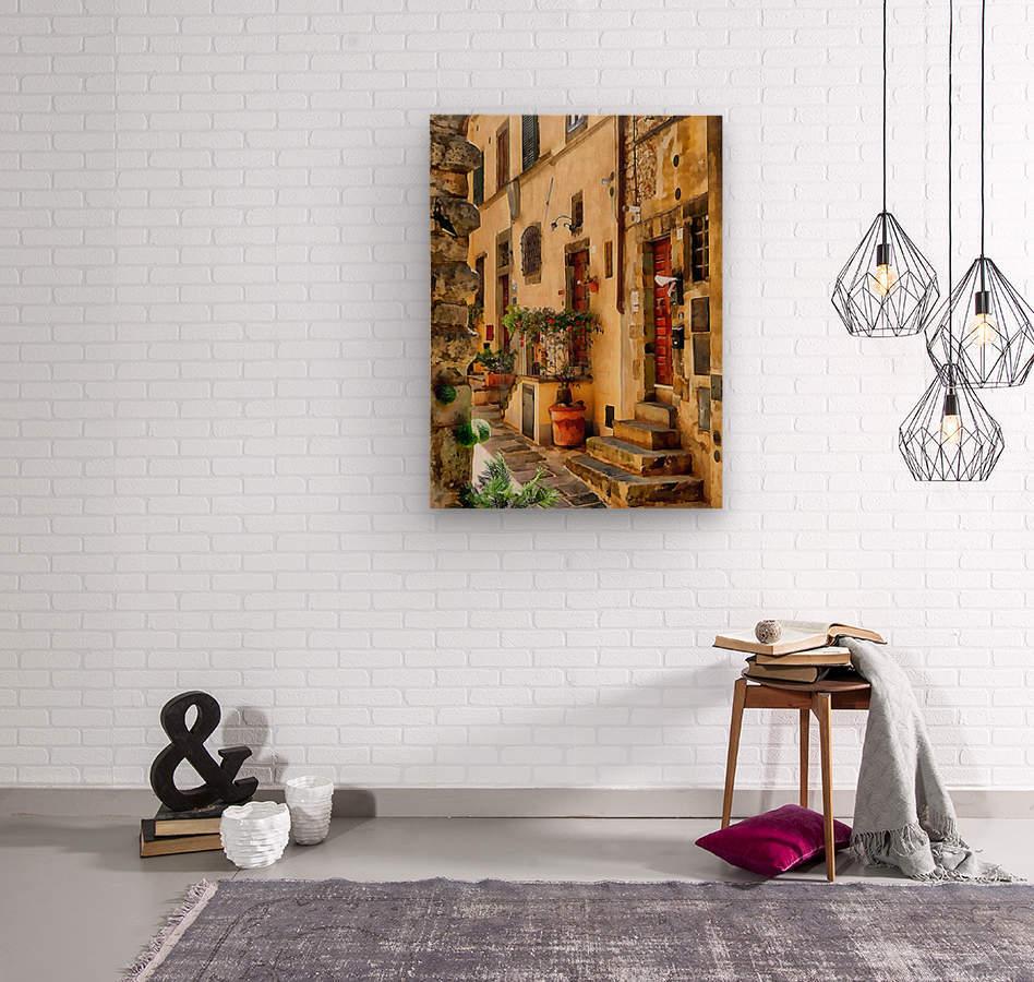 Around The Corner in Cortona  Wood print