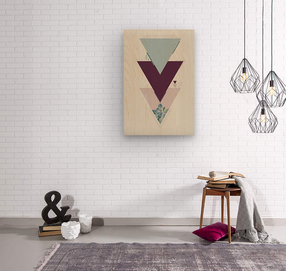 Art deco succulent  Wood print