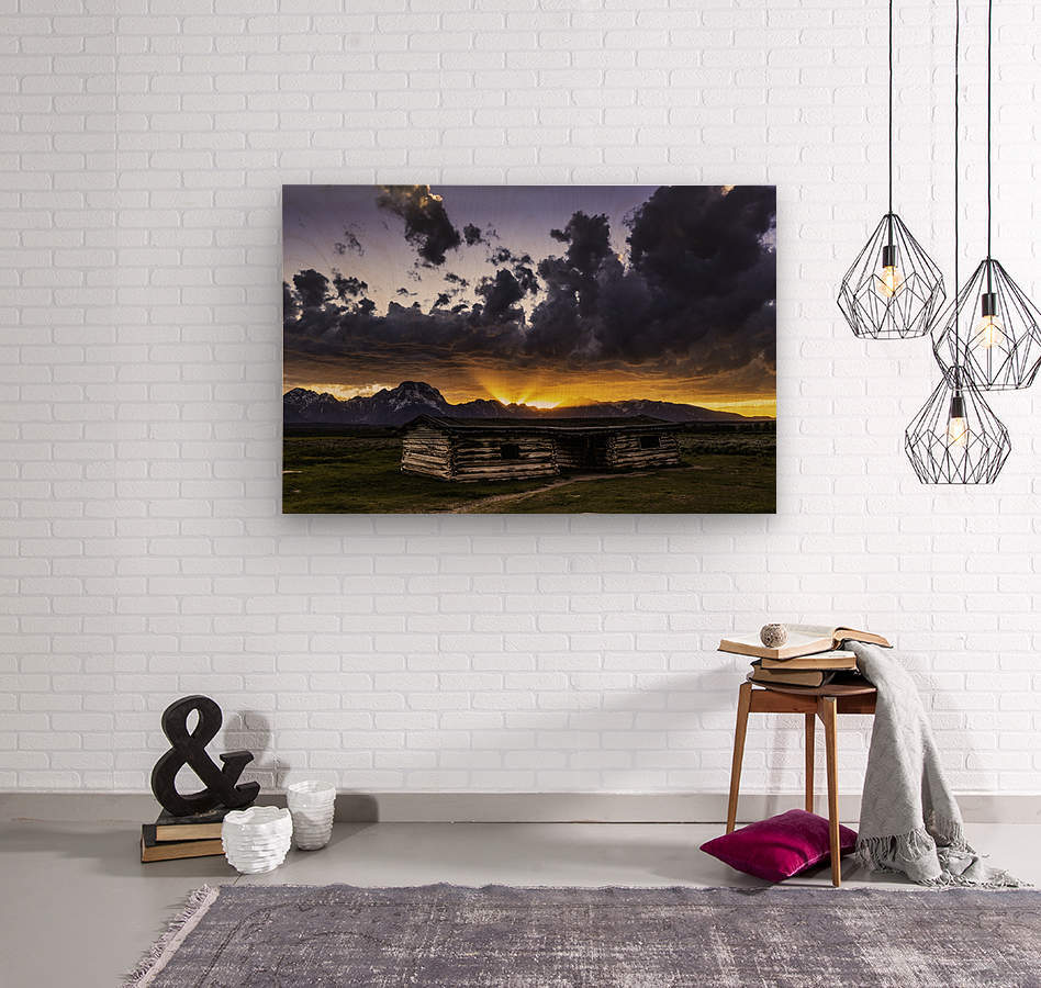 Pioneer Cabin sunset Grand Tetons  Wood print