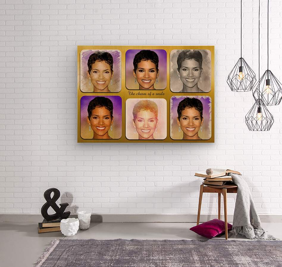 Halle Berry pop star celebrity   Wood print