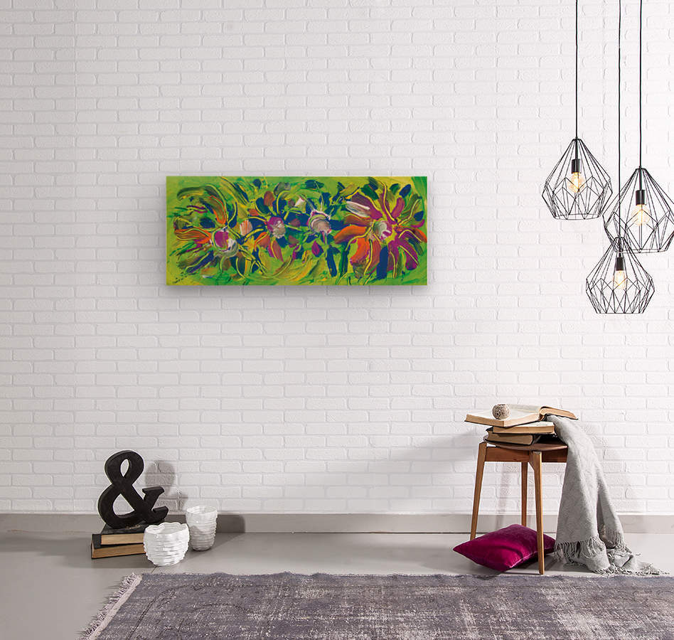 abstract multicolored flowers  Wood print