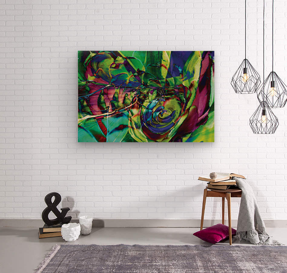 swirling abstract shapes   Wood print