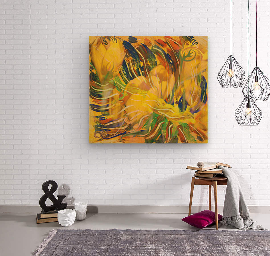 yellow flowers abstraction  Wood print
