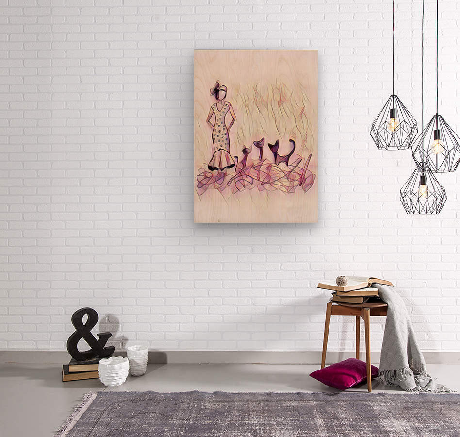 Dame et chats  Wood print