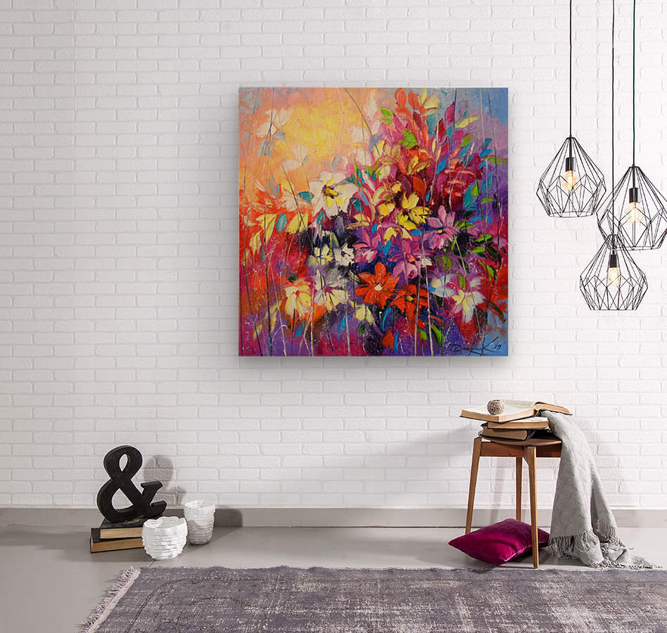 Dance of flowers  Wood print